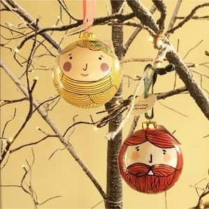 Anthro Papier mache 2 Hipster Ornaments Limited